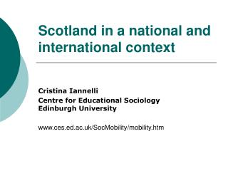 Scotland in a national and international context