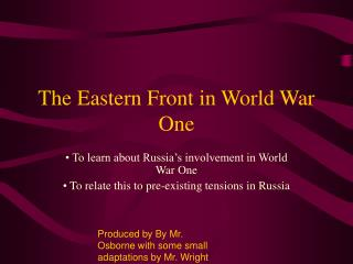 The Eastern Front in World War One