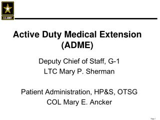 active duty medical extension adme