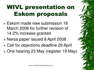 WIVL presentation on Eskom proposals