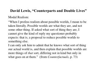 David Lewis,  Counterparts and Double Lives
