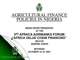 AGRICULTURAL FINANCE  POLICIES IN NIGERIA