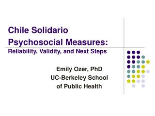 Chile Solidario  Psychosocial Measures:  Reliability, Validity, and Next Steps