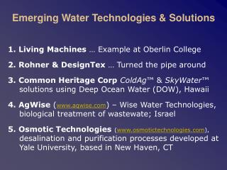 Emerging Water Technologies  Solutions