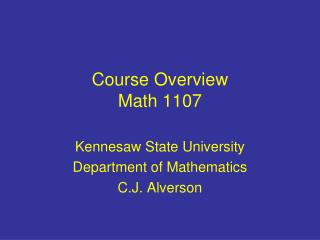 Course Overview Math 1107