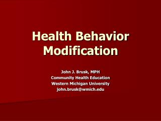 Health Behavior Modification
