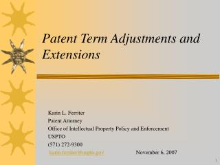 patent term adjustments and extensions
