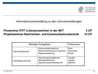 Informationsveranstaltung zu den Lehrveranstaltungen   Proseminar ETIT Literaturseminar in der NKT       2 CP Projektsem