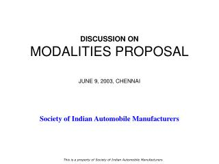 DISCUSSION ON MODALITIES PROPOSAL