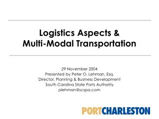 Logistics Aspects  Multi-Modal Transportation
