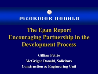 the egan report encouraging partnership in the development process