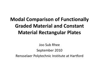Modal Comparison of Functionally Graded Material and Constant Material Rectangular Plates