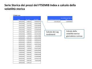 Serie Storica dei prezzi del FTSEMIB Index e calcolo della volatilit  storica