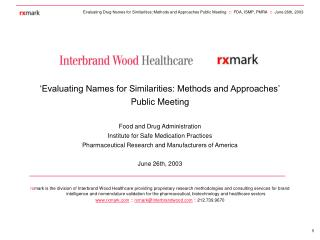 Evaluating Names for Similarities: Methods and Approaches  Public Meeting  Food and Drug Administration Institute for S