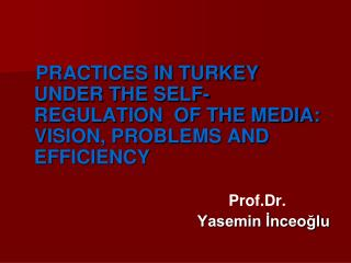 PRACTICES IN TURKEY UNDER THE SELF-REGULATION  OF THE MEDIA: VISION, PROBLEMS AND EFFICIENCY