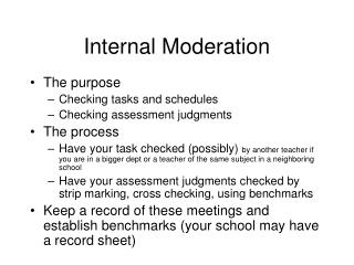 Internal Moderation