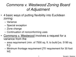 commons v. westwood zoning board of adjustment
