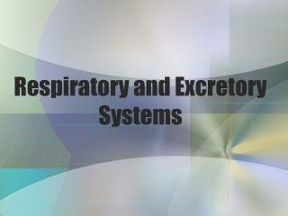 Respiratory and Excretory Systems