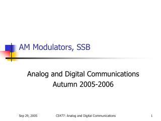 AM Modulators, SSB