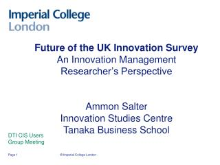 Future of the UK Innovation Survey An Innovation Management Researcher s Perspective   Ammon Salter Innovation Studies C