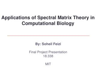 By: Soheil Feizi  Final Project Presentation 18.338  MIT