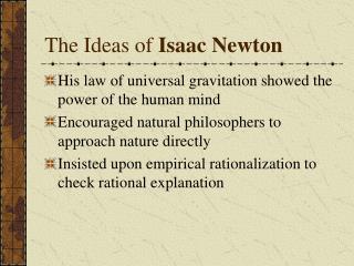 The Ideas of Isaac Newton
