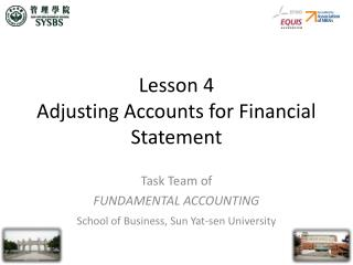 lesson 4 adjusting accounts for financial statement