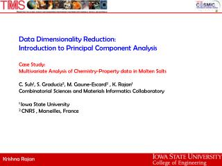 Data Dimensionality Reduction: Introduction to Principal Component Analysis  Case Study:  Multivariate Analysis of Chemi