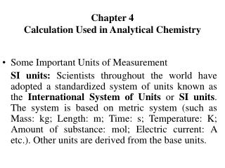 Chapter 4 Calculation Used in Analytical Chemistry