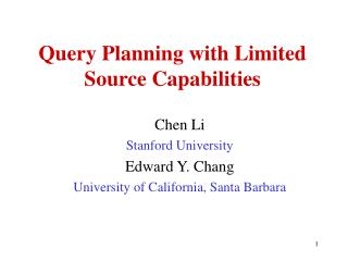 Query Planning with Limited Source Capabilities