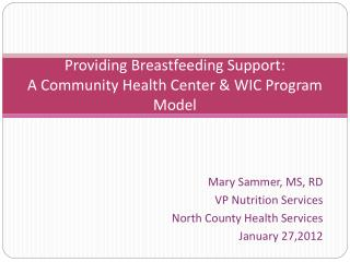 Providing Breastfeeding Support:  A Community Health Center  WIC Program Model