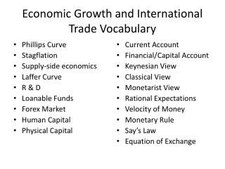 Economic Growth and International Trade Vocabulary