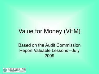 Value for Money VFM