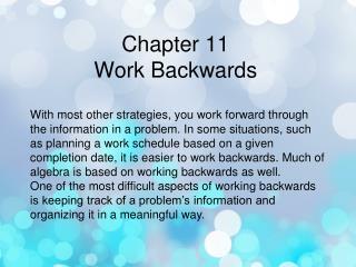 Chapter 11 Work Backwards