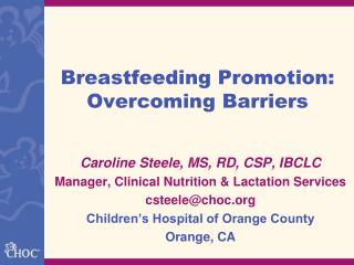 Breastfeeding Promotion: Overcoming Barriers