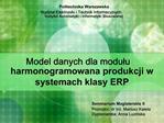 Model danych dla modulu harmonogramowana produkcji w systemach klasy ERP
