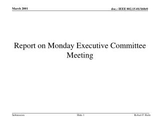 Report on Monday Executive Committee Meeting