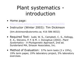 Plant systematics - introduction