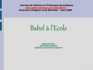 Babel   lEcole   St phanie Clerc Universit  dAvignon stephanie.clercuniv-avignon.fr