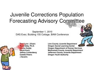 juvenile corrections population forecasting advisory committee