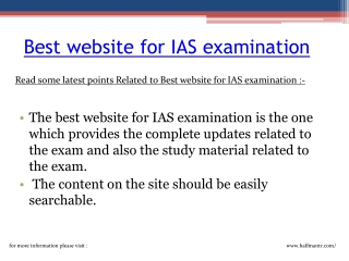Best website for IAS examination
