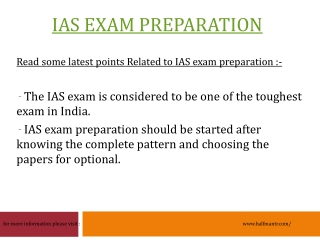IAS Exam Preparation