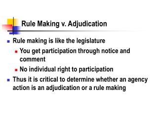 rule making v. adjudication