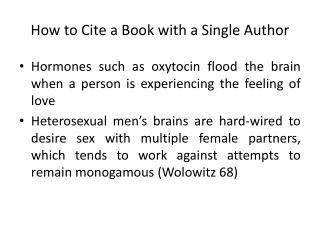 How to Cite a Book with a Single Author