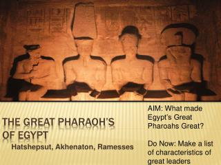 The great Pharaoh s  of egypt