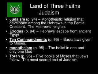 Land of Three Faiths Judaism