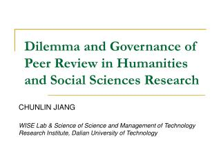Dilemma and Governance of Peer Review in Humanities and Social Sciences Research