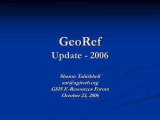 GeoRef Update - 2006