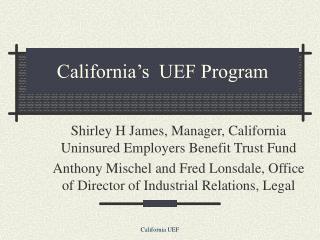 california s  uef program