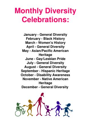 Monthly Diversity Celebrations: